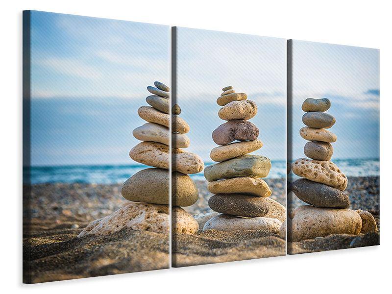 Leinwandbild 3-teilig Drei Steinstapel
