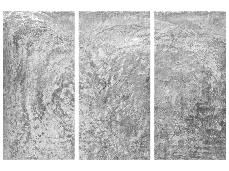 Leinwandbild 3-teilig Wischtechnik in Grau