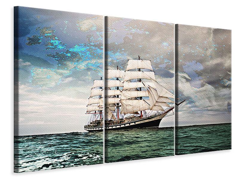 Leinwandbild 3-teilig Segelschiff