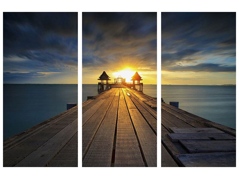 Leinwandbild 3-teilig Der Sonnenuntergang bei der Holzbrücke