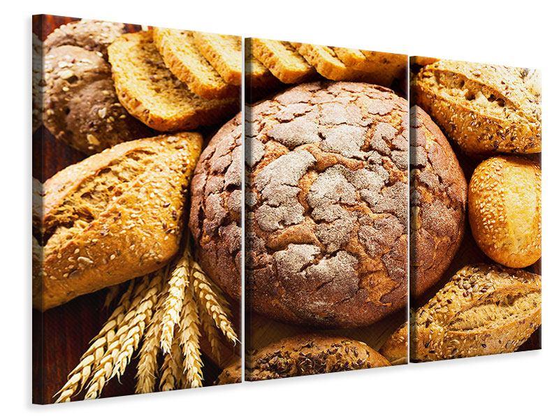 Leinwandbild 3-teilig Brotsortiment