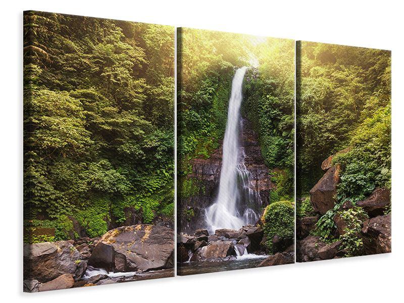 Leinwandbild 3-teilig Wasserfall Bali