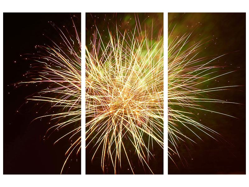 Leinwandbild 3-teilig Feuerwerk XXL