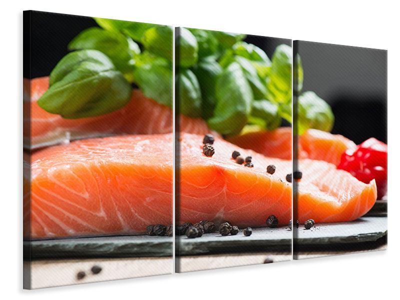 Leinwandbild 3-teilig Frischer Fisch