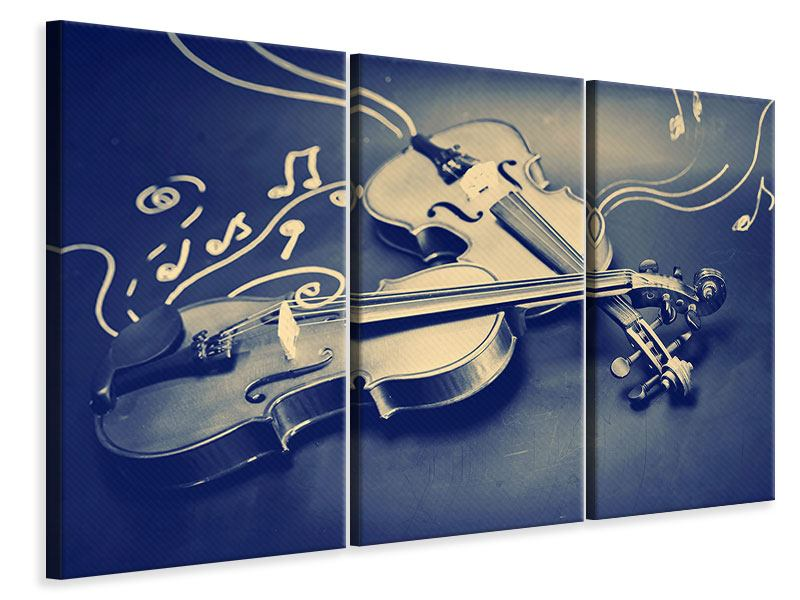 Leinwandbild 3-teilig Geigen