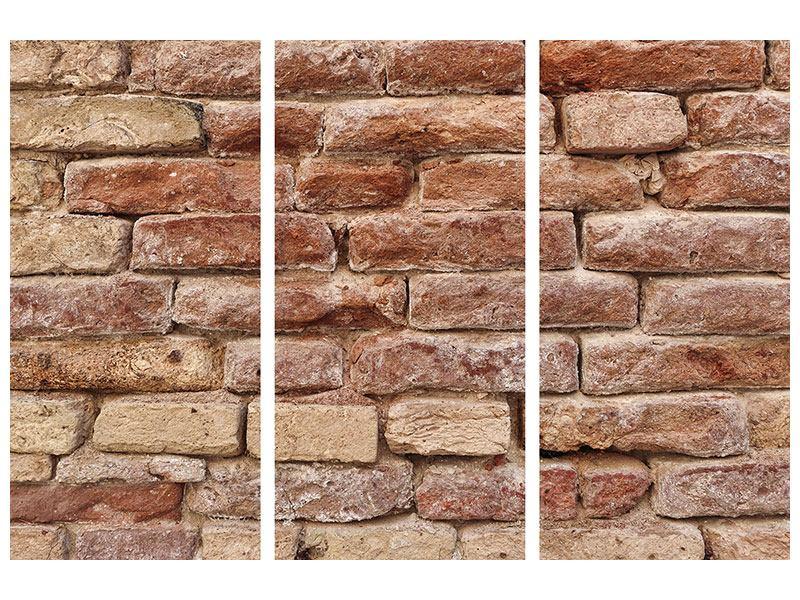 Leinwandbild 3-teilig Loft-Mauer