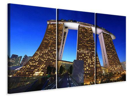 Leinwandbild 3-teilig Wolkenkratzer Singapur