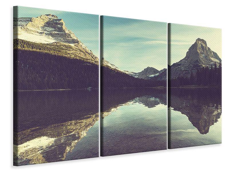 Leinwandbild 3-teilig Spiegelung im Bergsee