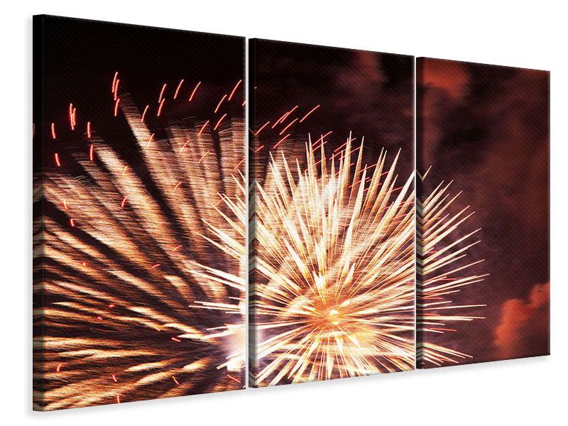 Leinwandbild 3-teilig Close Up Feuerwerk