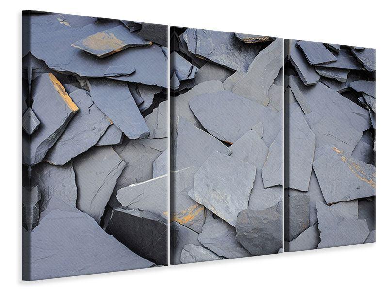 Leinwandbild 3-teilig Schieferplatten