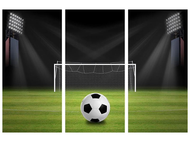 Leinwandbild 3-teilig Fussball-Tor