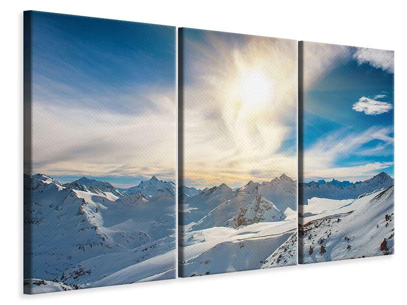 Leinwandbild 3-teilig Über den verschneiten Gipfeln