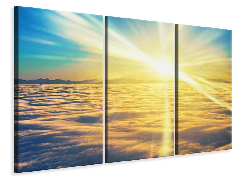 Leinwandbild 3-teilig Sonnenuntergang über den Wolken