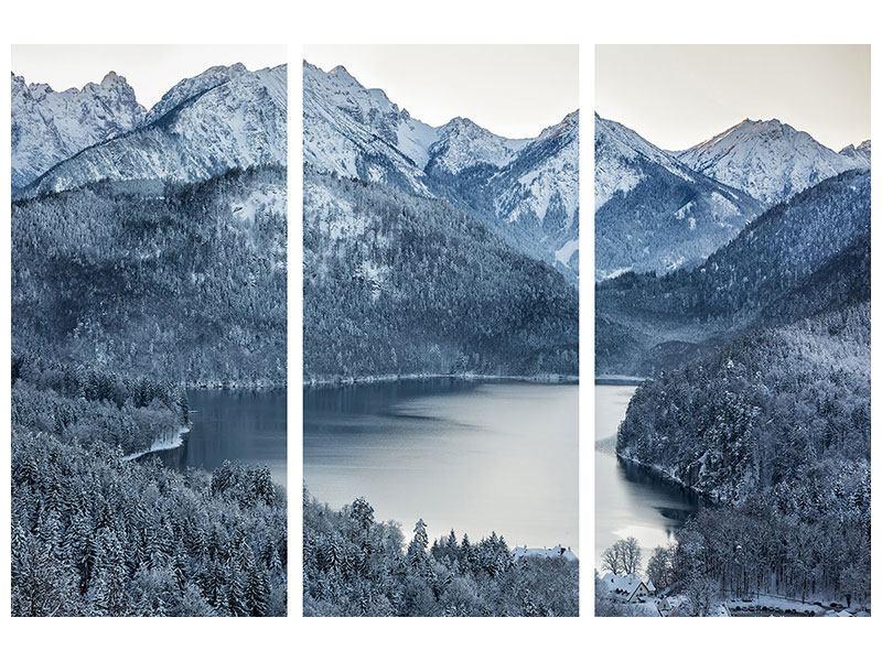 Leinwandbild 3-teilig Schwarzweissfotografie Berge