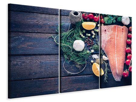 Leinwandbild 3-teilig Fangfrischer Fisch