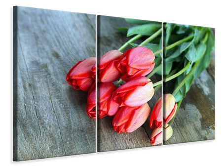 Leinwandbild 3-teilig Der rote Tulpenstrauss