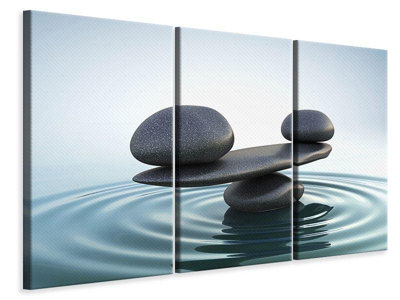Leinwandbild 3-teilig Steinbalance