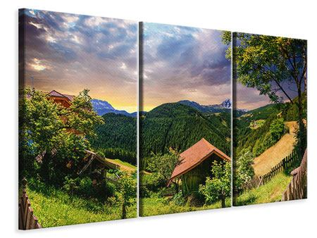 Leinwandbild 3-teilig Schweizer Berge im Sommer