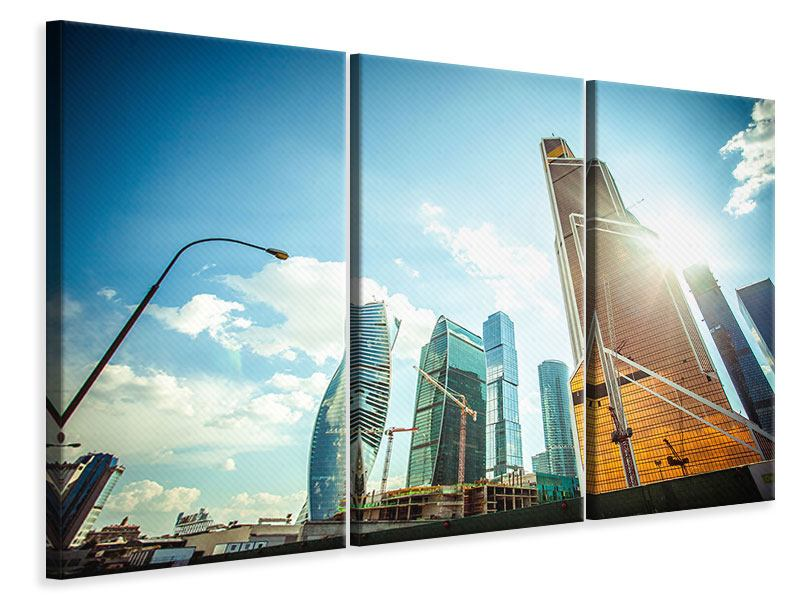 Leinwandbild 3-teilig Wolkenkratzer Moskau