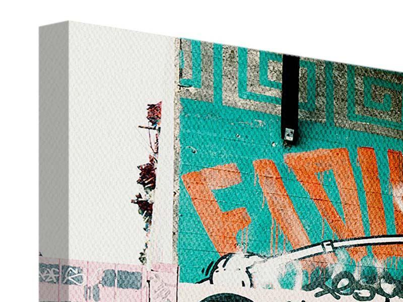 Leinwandbild 3-teilig Graffiti im Hinterhof