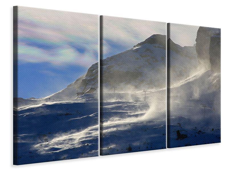 Leinwandbild 3-teilig Mit Schneeverwehungen den Berg in Szene gesetzt