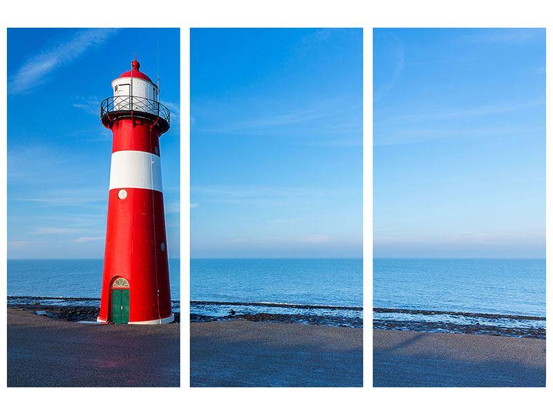 Leinwandbild 3-teilig Sommer beim Leuchtturm
