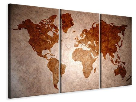 Leinwandbild 3-teilig Vintage-Weltkarte