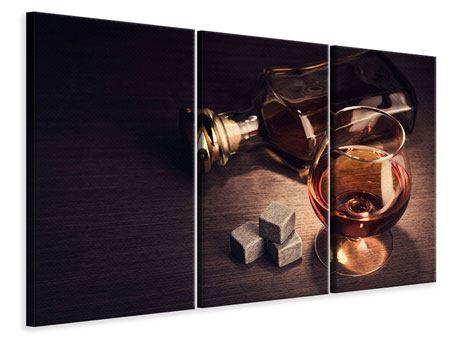 Leinwandbild 3-teilig Ein Glas Cognac