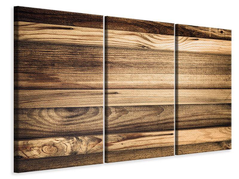 Leinwandbild 3-teilig Holztrend