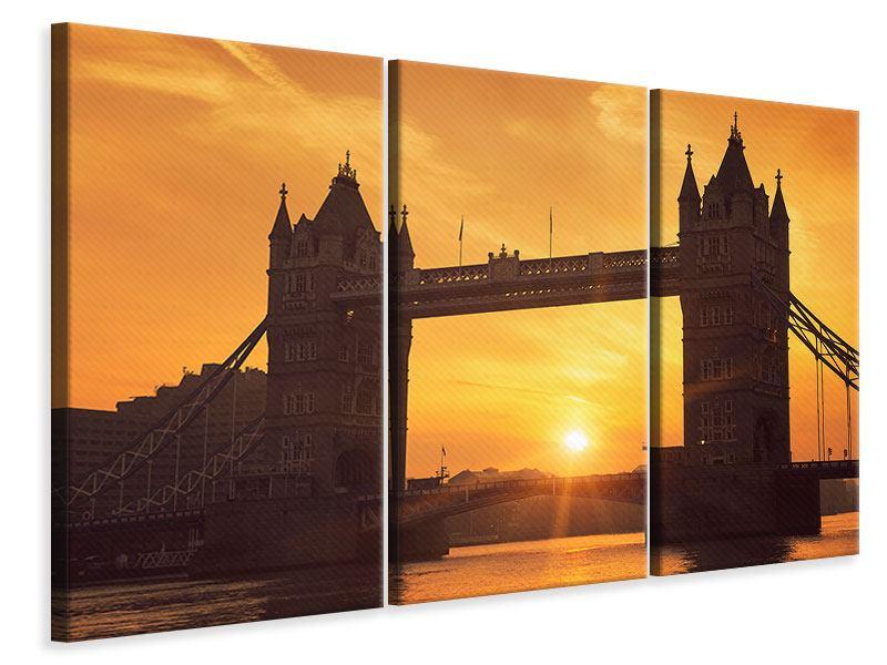 Leinwandbild 3-teilig Sonnenuntergang bei der Tower-Bridge