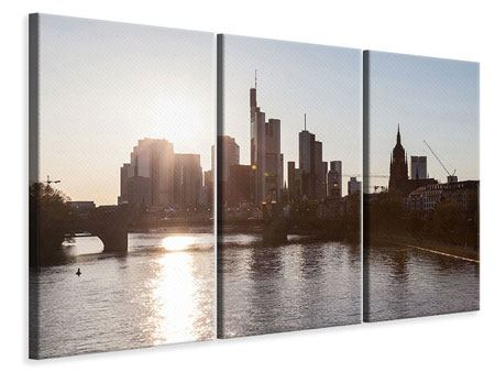 Leinwandbild 3-teilig Skyline Sonnenaufgang bei Frankfurt am Main