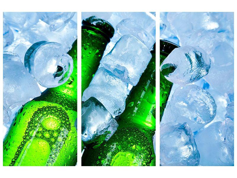 Leinwandbild 3-teilig Eisflaschen