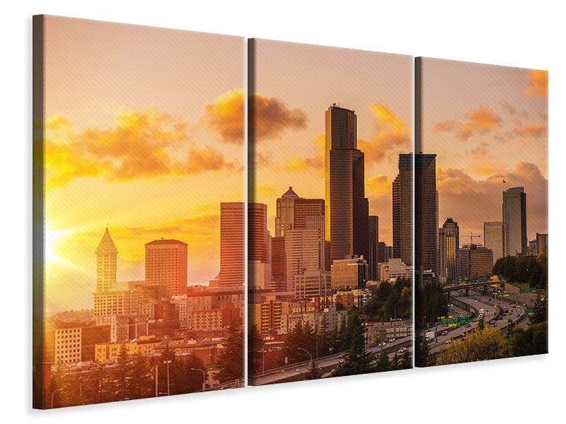 Leinwandbild 3-teilig Skyline Washington
