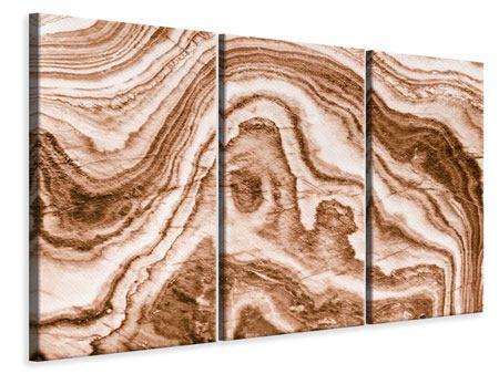 Leinwandbild 3-teilig Marmor in Sepia