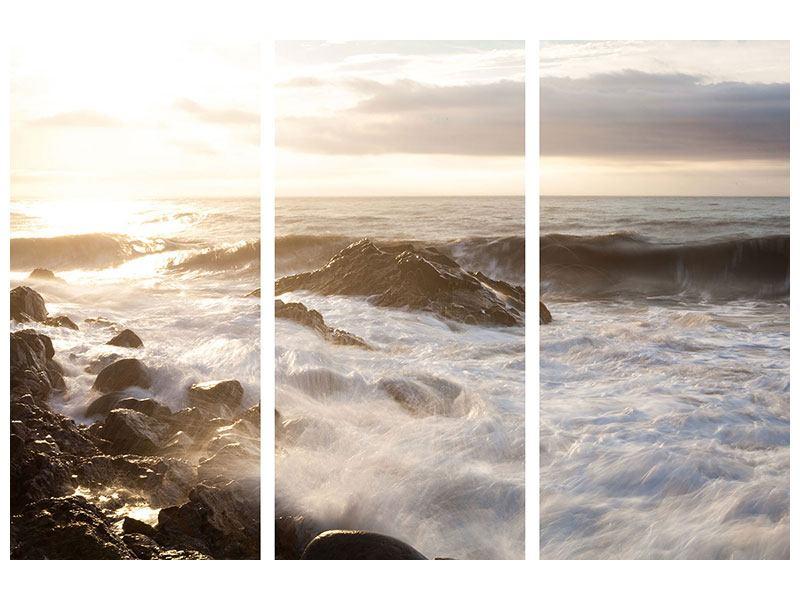 Leinwandbild 3-teilig Meeresbrandung