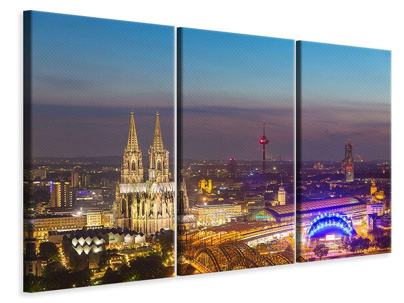 Leinwandbild 3-teilig Skyline Kölner Dom bei Nacht