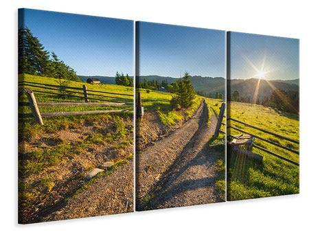 Leinwandbild 3-teilig Sonnenaufgang am Berg