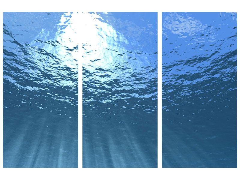 Leinwandbild 3-teilig Sonnenstrahlen unter Wasser