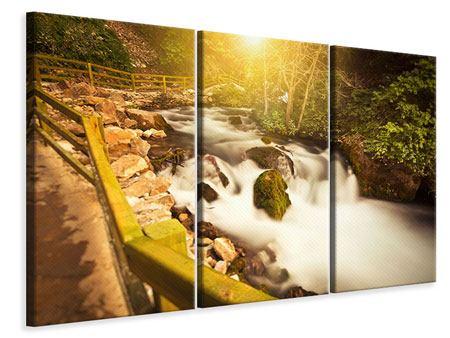Leinwandbild 3-teilig Sonnenuntergang am Wasserfall