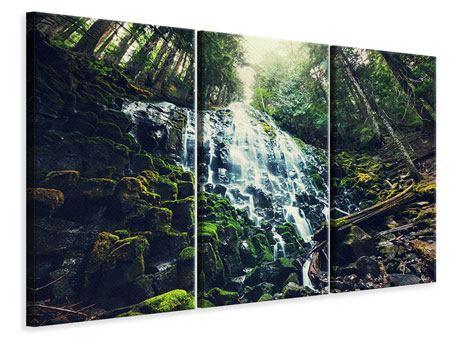 Leinwandbild 3-teilig Feng Shui & Wasserfall
