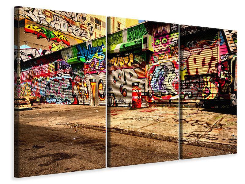 Leinwandbild 3-teilig NY Graffiti