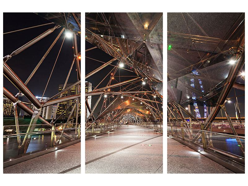 Leinwandbild 3-teilig Brückenlichter