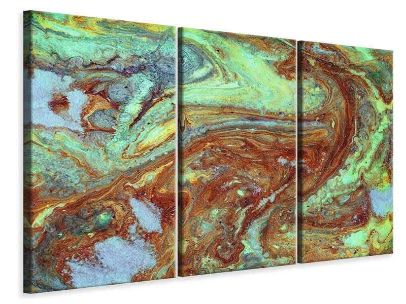 Leinwandbild 3-teilig Marmor in Grün