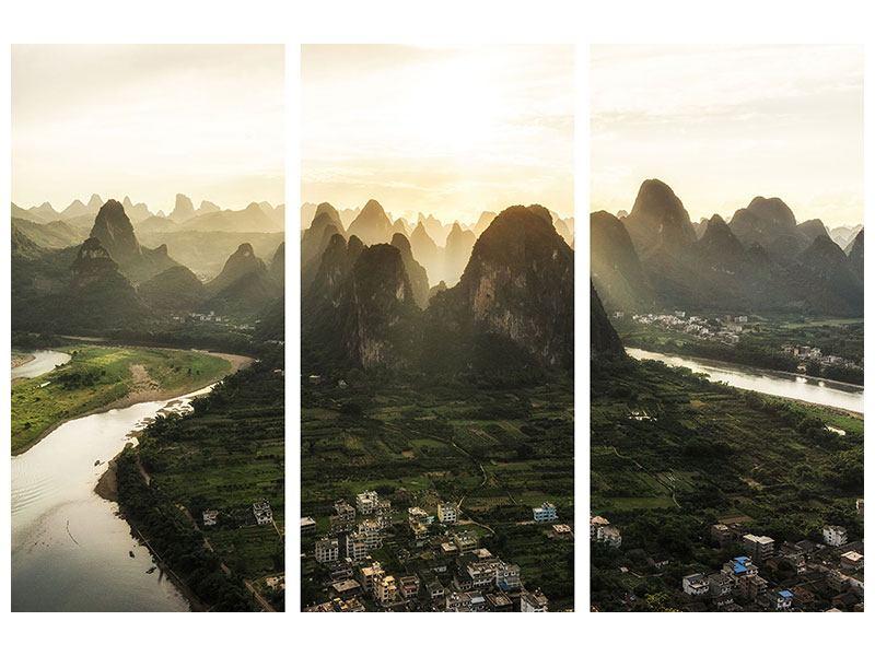 Leinwandbild 3-teilig Die Berge von Xingping