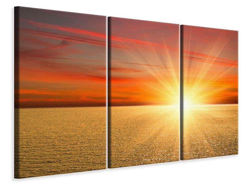 Leinwandbild 3-teilig Der Sonnenuntergang