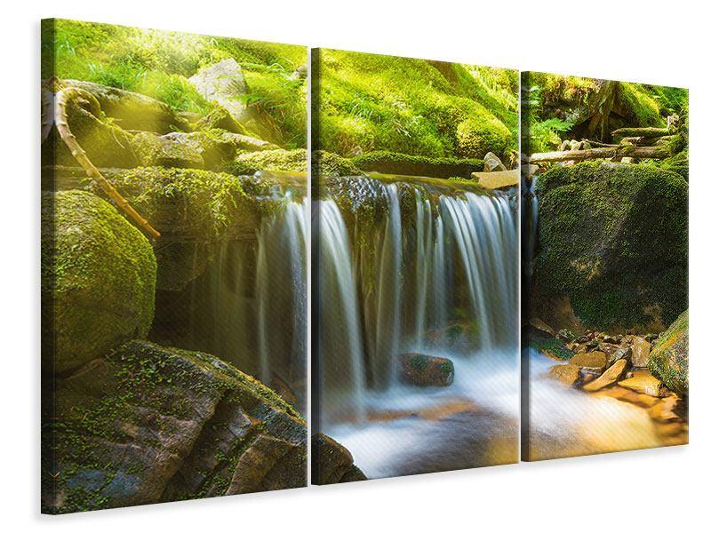 Leinwandbild 3-teilig Schönheit des fallenden Wassers