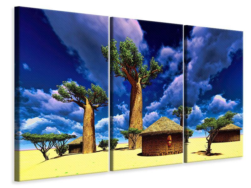 Leinwandbild 3-teilig Ein Dorf in Afrika