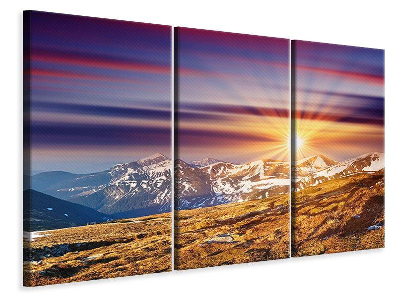 Leinwandbild 3-teilig Majestätischer Sonnuntergang am Berggipfel