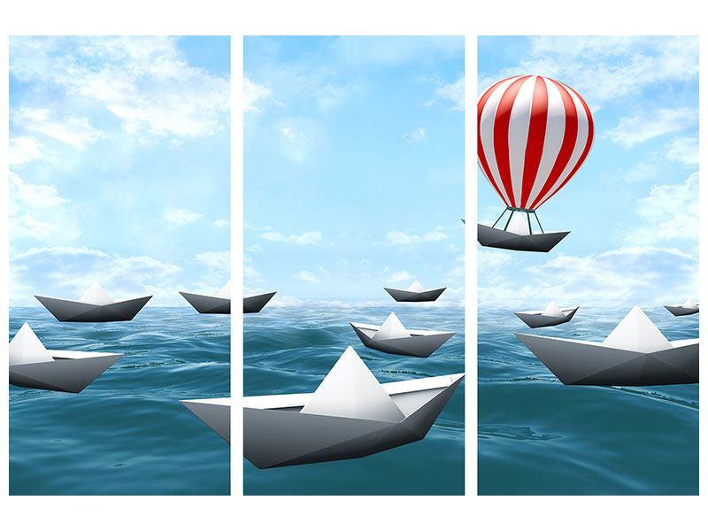 Leinwandbild 3-teilig Schiffchen