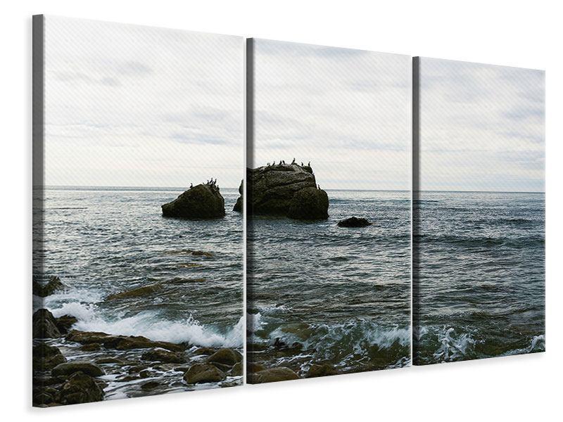 Leinwandbild 3-teilig Leise Wellen